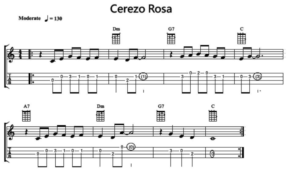 烏克麗麗教學:《烏克麗麗101樂句》樂句 065 Cha Cha 示範曲《Cerezo Rosa》